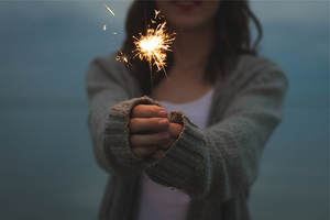 Holding Sparkler New Year